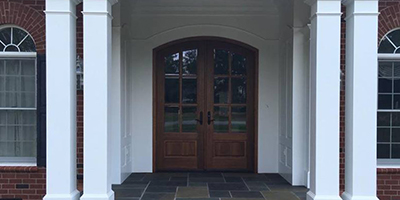 Front door with pillars