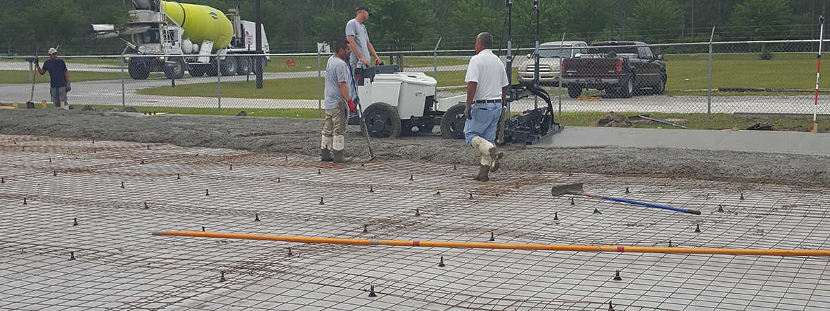 Cement Slab being set for the new Sales & Operations Center in Shallotte.